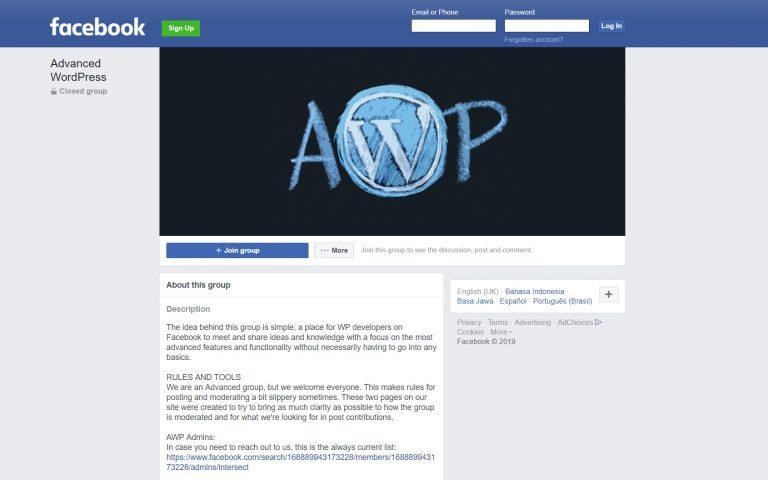 La página de Facebook del grupo AWP (WordPress avanzado)