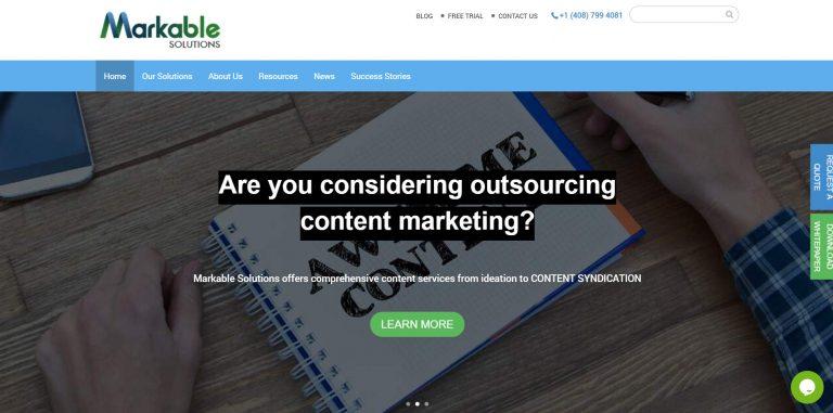 La página de inicio de Markable Solutions