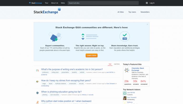 La página de inicio de Stack Exchange