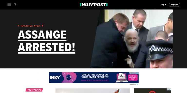 La página de inicio de The Huffington Post