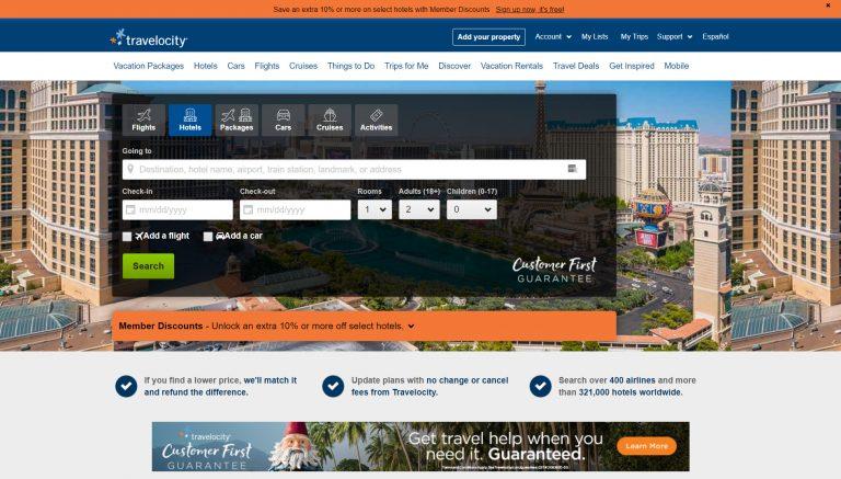 La página de inicio de Travelocity