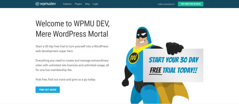 La página de inicio de WPMU DEV