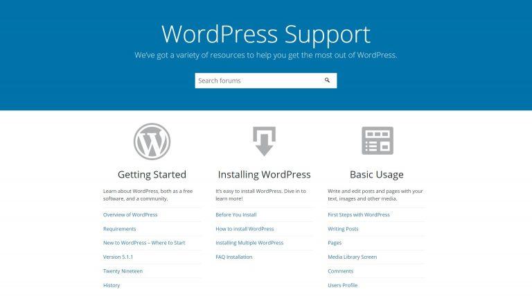 La página de inicio del soporte de WordPress