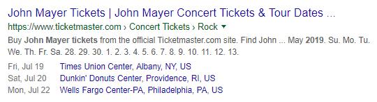 La página de programación de conciertos de John Mayer está activada con el esquema de evento marcado