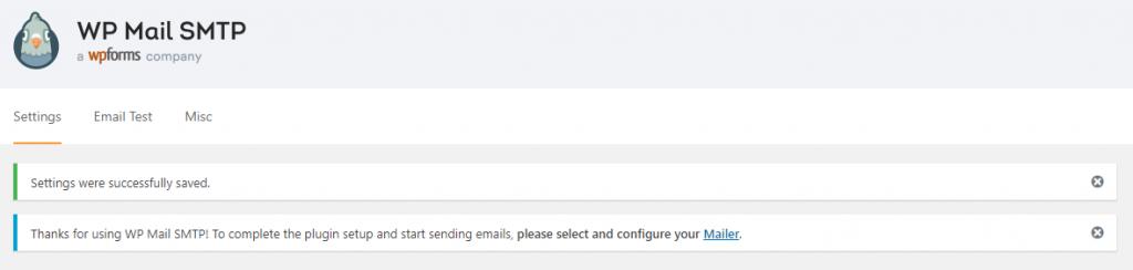 WP Mail SMTP Confirmación de cambio de configuración exitosa
