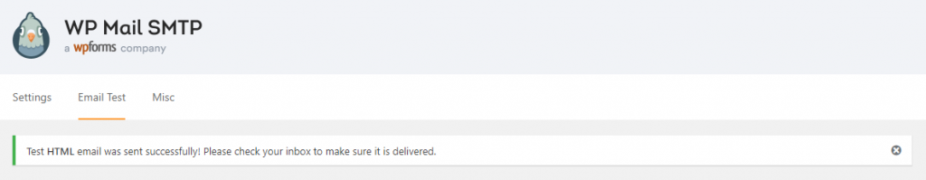 WP Mail SMTP Confirmación de prueba de correo electrónico exitosa
