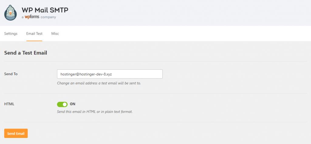 WP Mail SMTP Función de prueba de correo electrónico