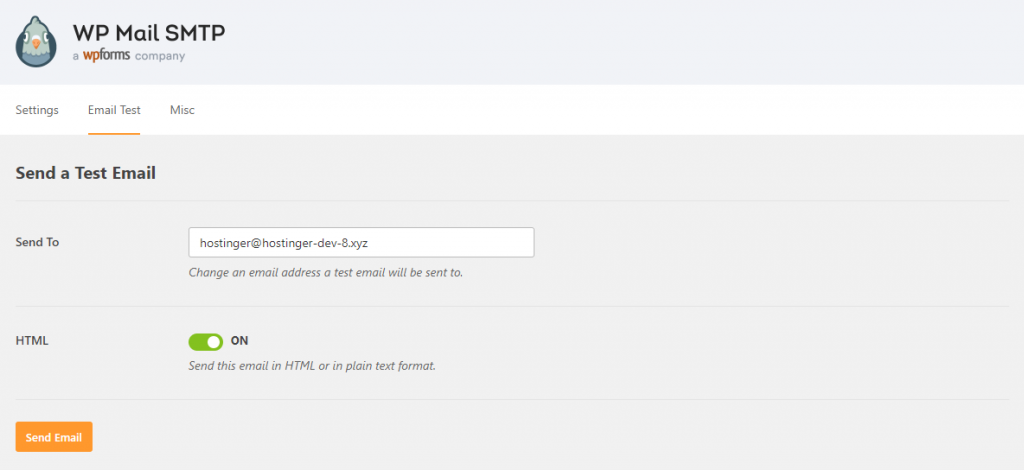 WP Mail SMTP Test Email Feature