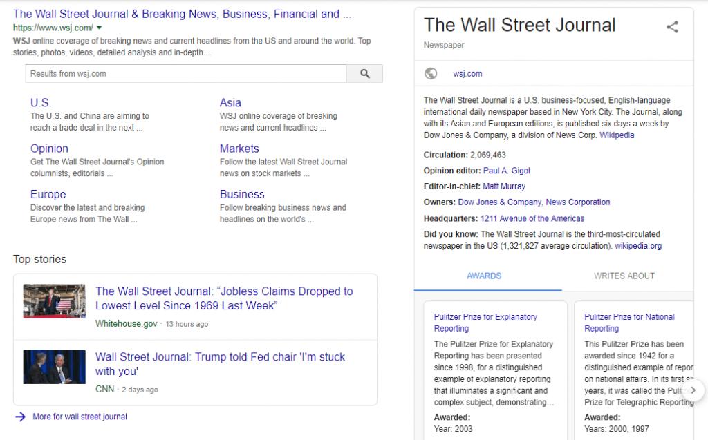 La página del Wall Street Journal con el marcado del esquema del artículo que se muestra en SERP