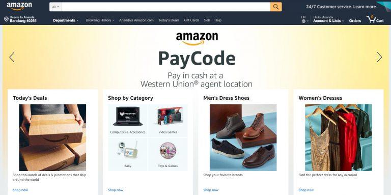 La página de inicio de Amazon.com