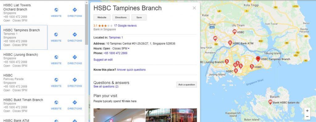 Banco HSBC con marcado de datos de negocios locales que puede previsualizar toda la sucursal bancaria en Singapur