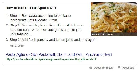 Página de recetas de Aglio Olio schema markup