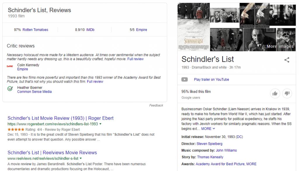 """Marcado de datos estructurados en acción para la frase clave """"Schindler's List Movie"""""""