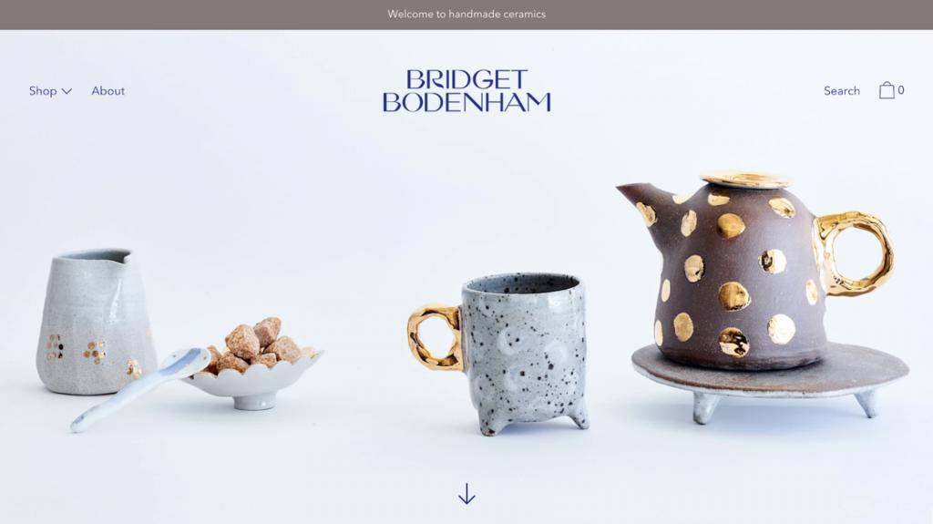 Página de inicio del sitio web de artesanías Bridget Bodenham