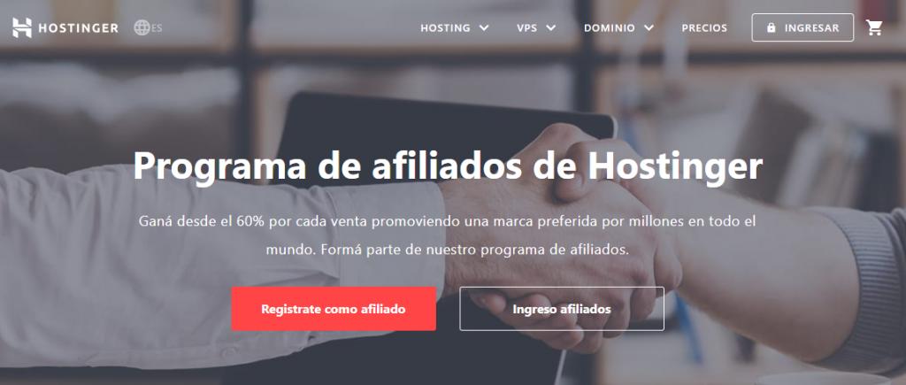 página de inicio del programa de afiliados de hostinger