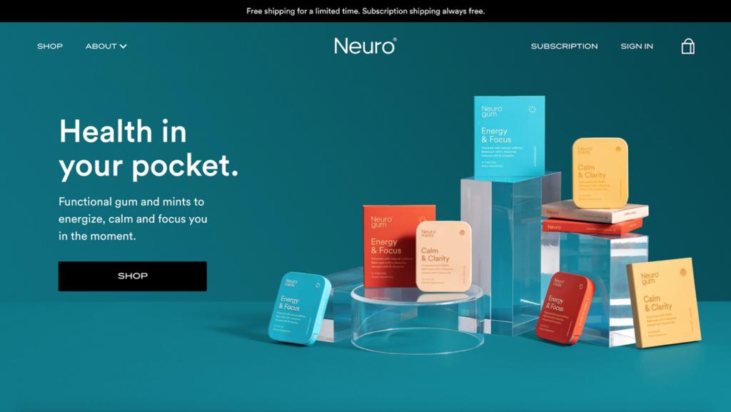 Página de inicio de Neuro, negocio online de micronicho
