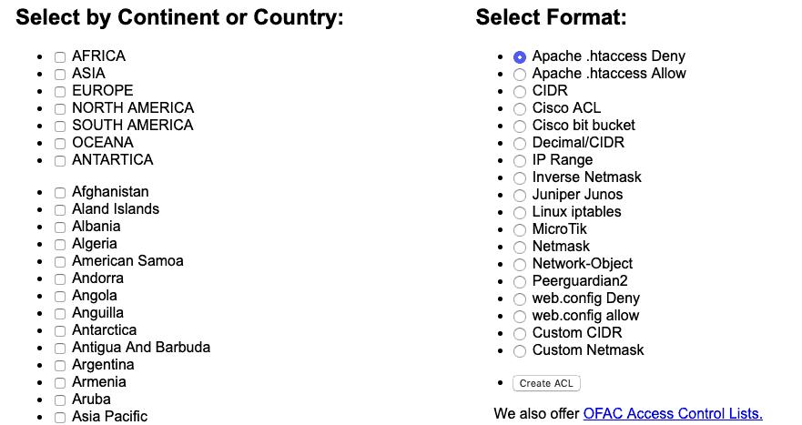 Genera una lista de direcciones IP utilizando los Bloques de IP del país