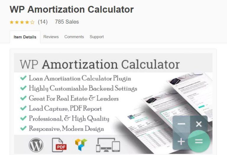 página de WordPress calculadora de amortización wp