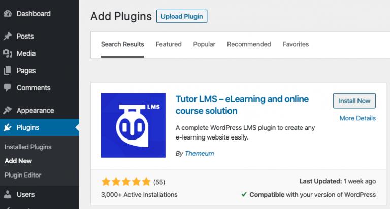 Agregar el complemento Tutor LMS a WordPress