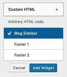Agregar un widget a la página de inicio desde el menú HTML personalizado