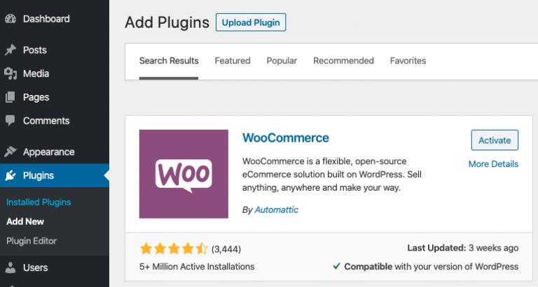 Agregar el complemento WooCommerce a WordPress