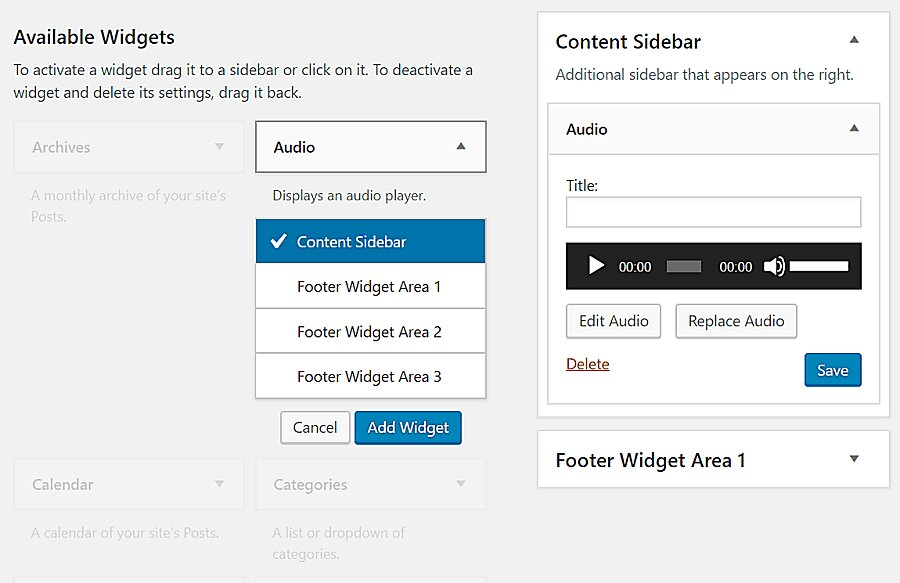 widget para insertar audio en WordPress