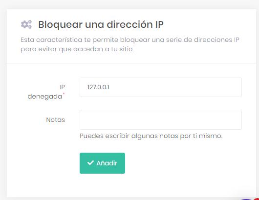 Bloquear una función de dirección IP