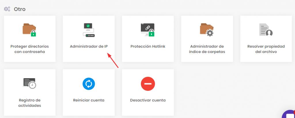 Sección de IP Manager en WordPress