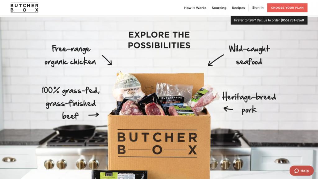 Homepage de Butcher Box