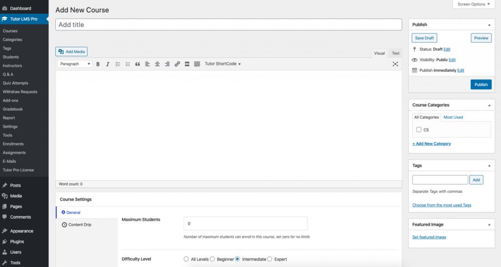 Crear un nuevo curso online back-end con Tutor LMS Pro