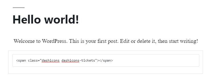 Fragmento HTML de Dashicons del ícono de ticket de WordPress en el editor de publicaciones