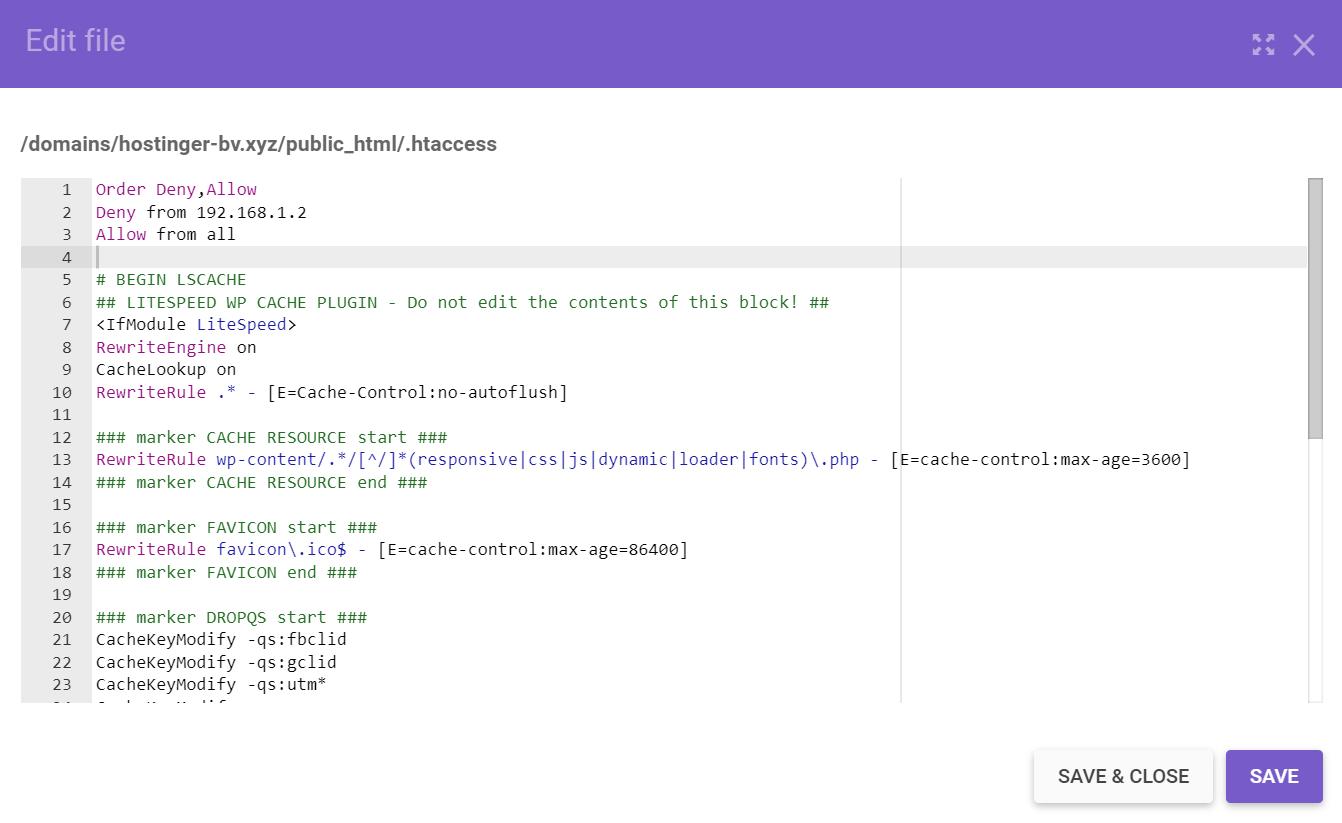 Insertar código en el archivo .htaccess