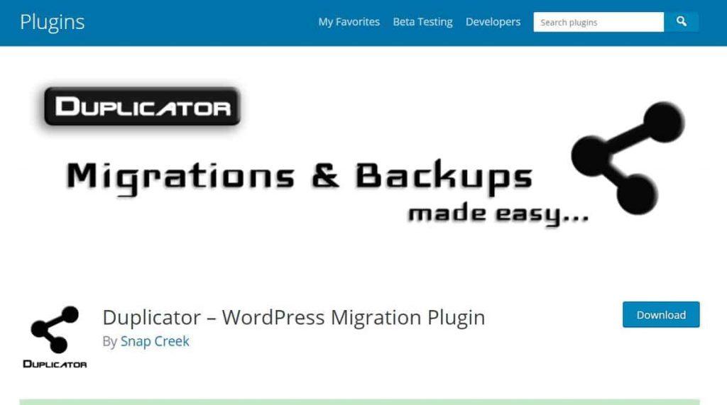 Página del plugin Dpulicator WordPress