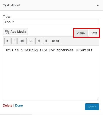 Editar HTML en el widget Acerca de la página