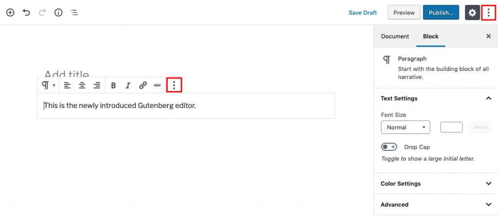 opciones para editar HTML en Gutenberg