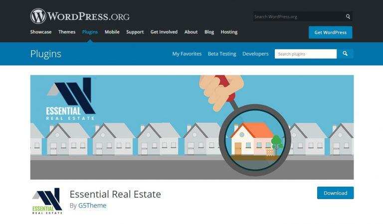 página de WordPress del complemento inmobiliario esencial