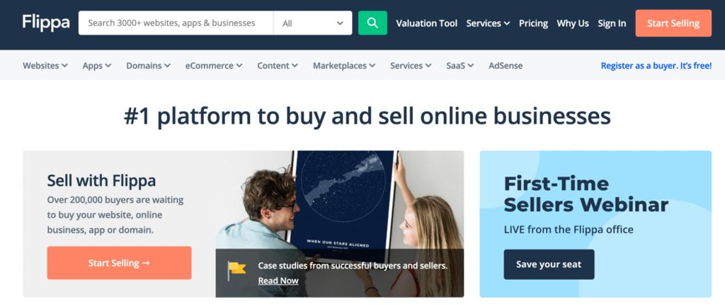 página de inicio de flippa para vender sitios web negocios online