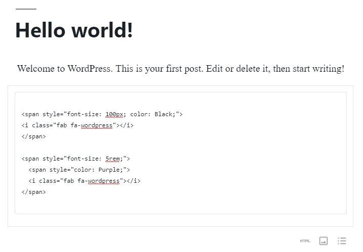 Ejemplo de fragmentos de HTML para personalizar los iconos de color y tamaño de Font Awesome