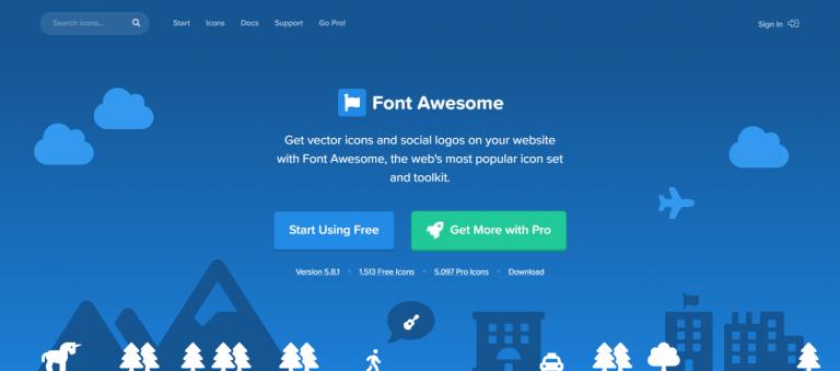 La página de inicio del sitio Font Awesome