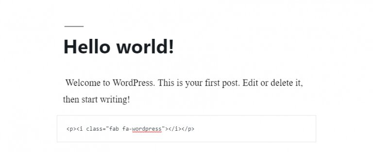 La vista previa del icono de WordPress de Font Awesome en la publicación de WP