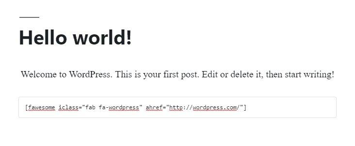 fragmento HTML del icono de WordPress de Font Awesome que se regenera en el sitio principal de WordPress