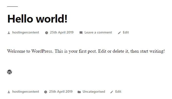 La vista previa del icono de WordPress que está vinculado a WordPress .com