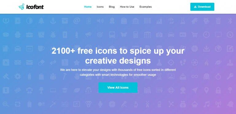 La página de inicio de IcoFont