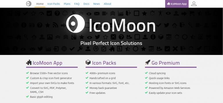 La página de inicio de IcoMoon