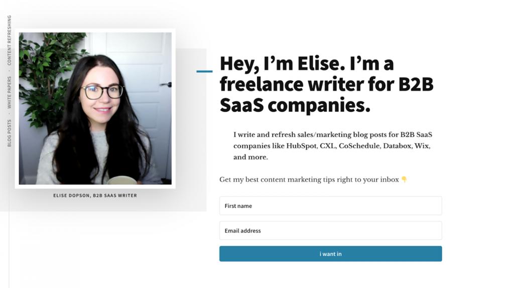Página de Inicio del sitio web de Elise Dopson, escritora freelance