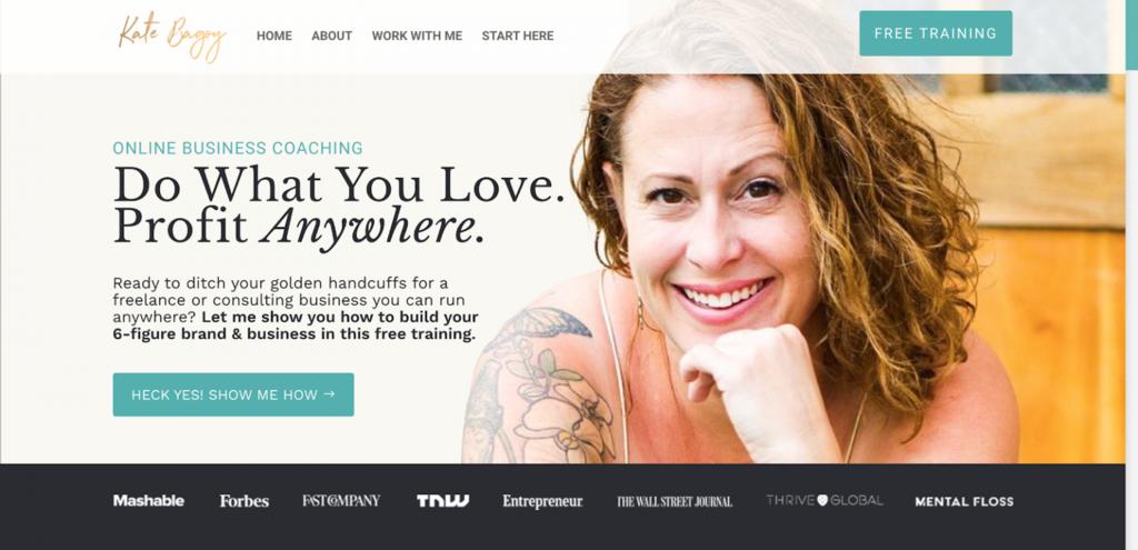 Página de inicio de Kate Bagoy, consultora de negocios online