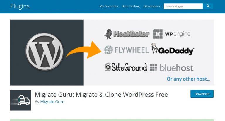 Migrar la página del complemento oficial de WordPress de Guru