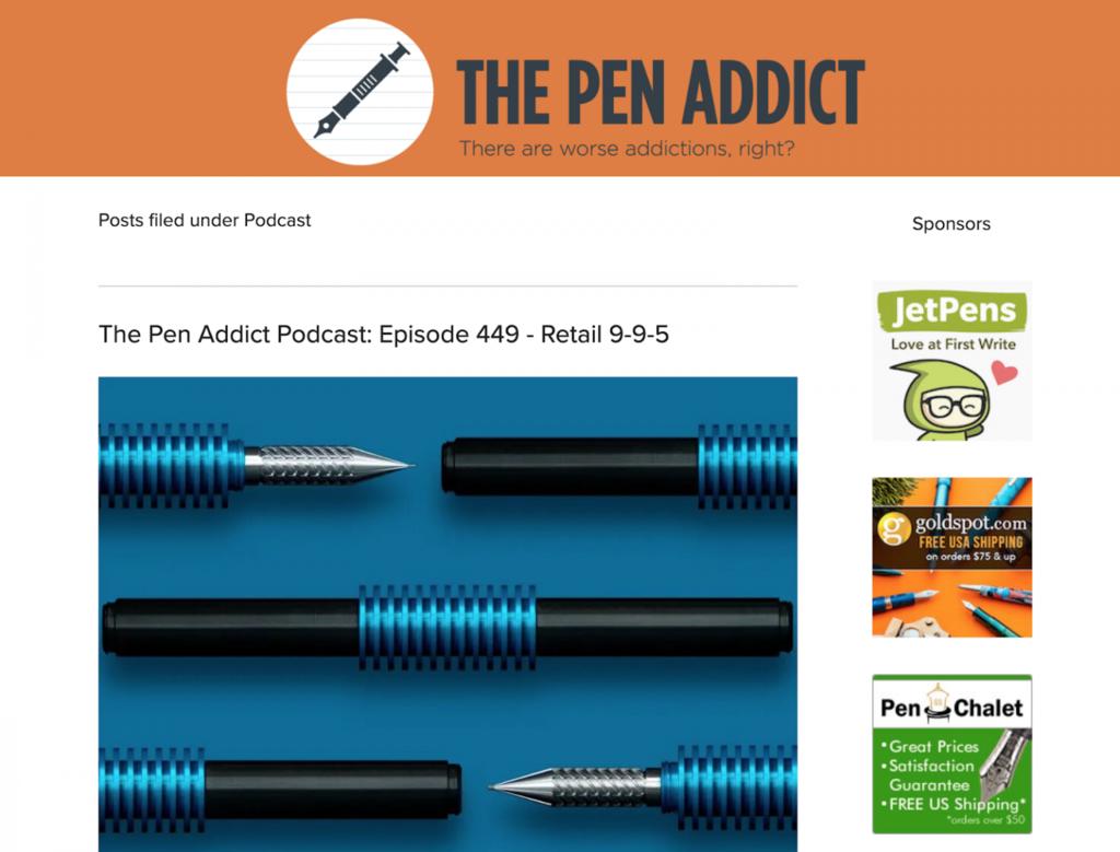 Página de inicio de The Pen Addict