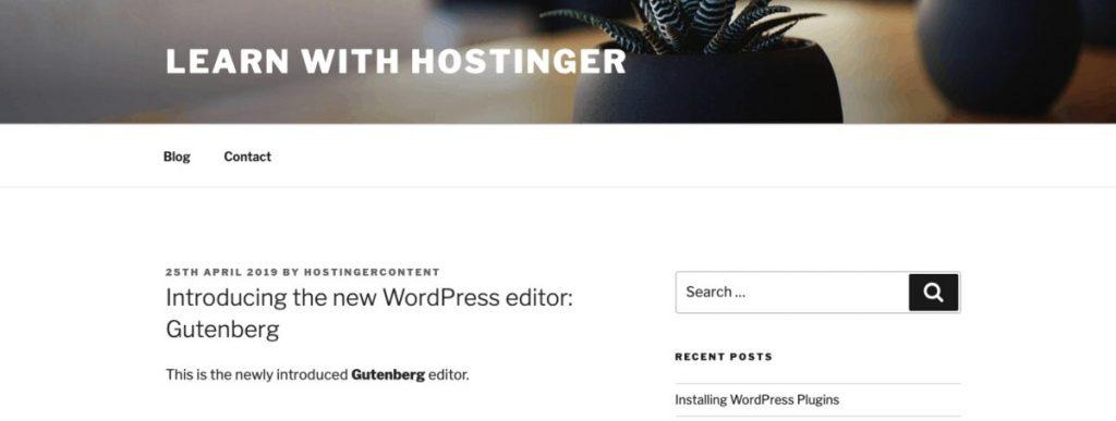 El resultado después de editar HTML en un WordPress Post