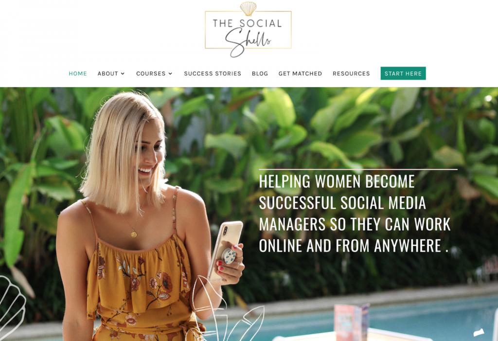 Página de inicio de The Social Shells